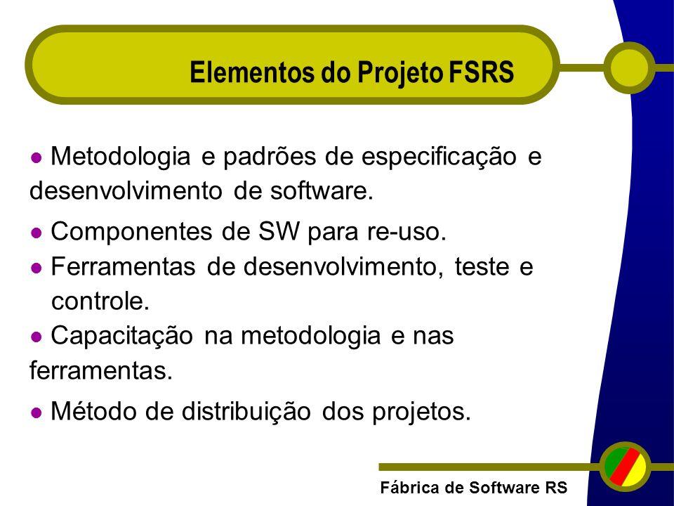 Fábrica de Software RS Elementos do Projeto FSRS Metodologia e padrões de especificação e desenvolvimento de software. Componentes de SW para re-uso.