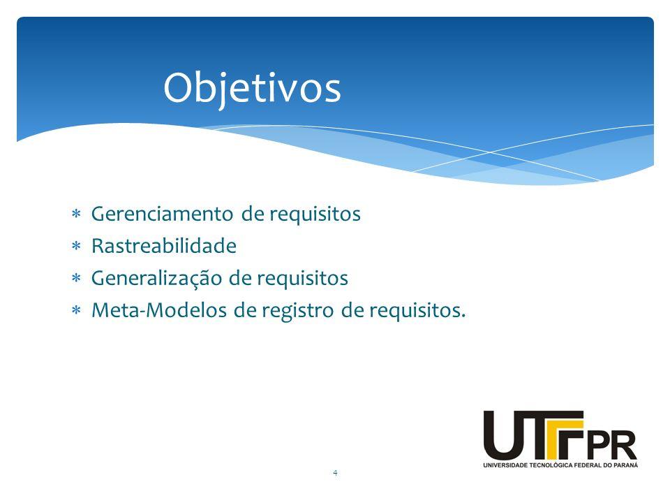 Gerenciamento de requisitos Rastreabilidade Generalização de requisitos Meta-Modelos de registro de requisitos. 4 Objetivos