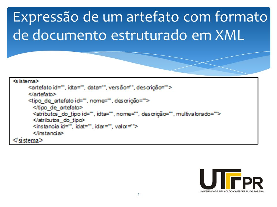 7 Expressão de um artefato com formato de documento estruturado em XML