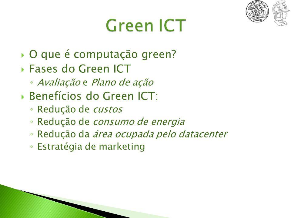 O que é computação green? Fases do Green ICT Avaliação e Plano de ação Benefícios do Green ICT: Redução de custos Redução de consumo de energia Reduçã