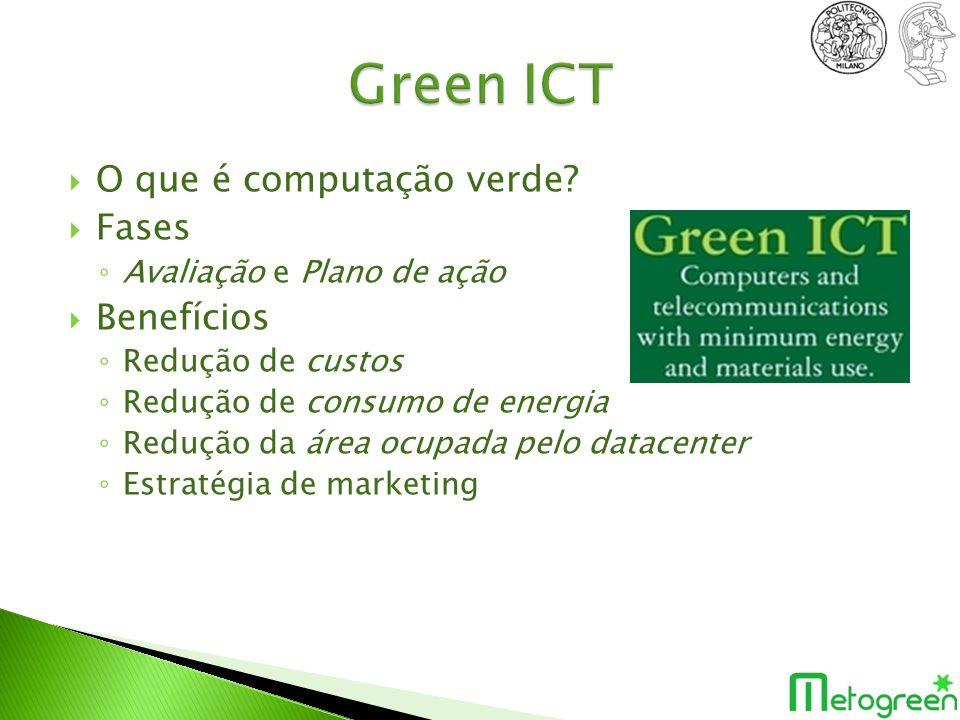 O que é computação verde? Fases Avaliação e Plano de ação Benefícios Redução de custos Redução de consumo de energia Redução da área ocupada pelo data