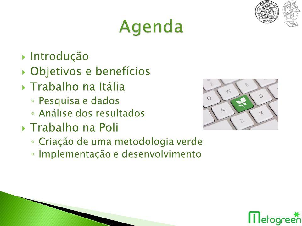 ObjetivosBenefícios Criação do banco de dados de componentes Avaliar uma ferramenta de benchmark (SANDRA) Criação de uma metodologia verde Identificação de pontos críticos de consumo em uma empresa Auxilio na tomada de decisão de uma política verde