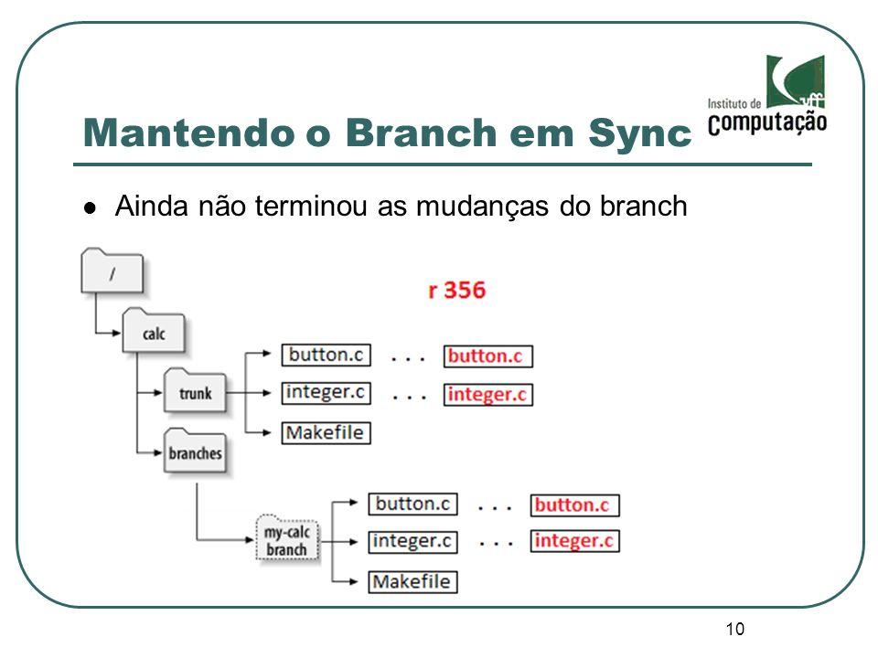 10 Mantendo o Branch em Sync Ainda não terminou as mudanças do branch