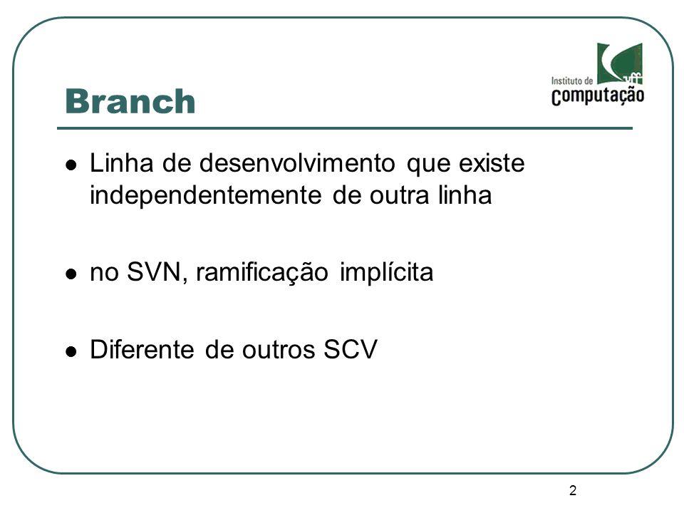 2 Branch Linha de desenvolvimento que existe independentemente de outra linha no SVN, ramificação implícita Diferente de outros SCV