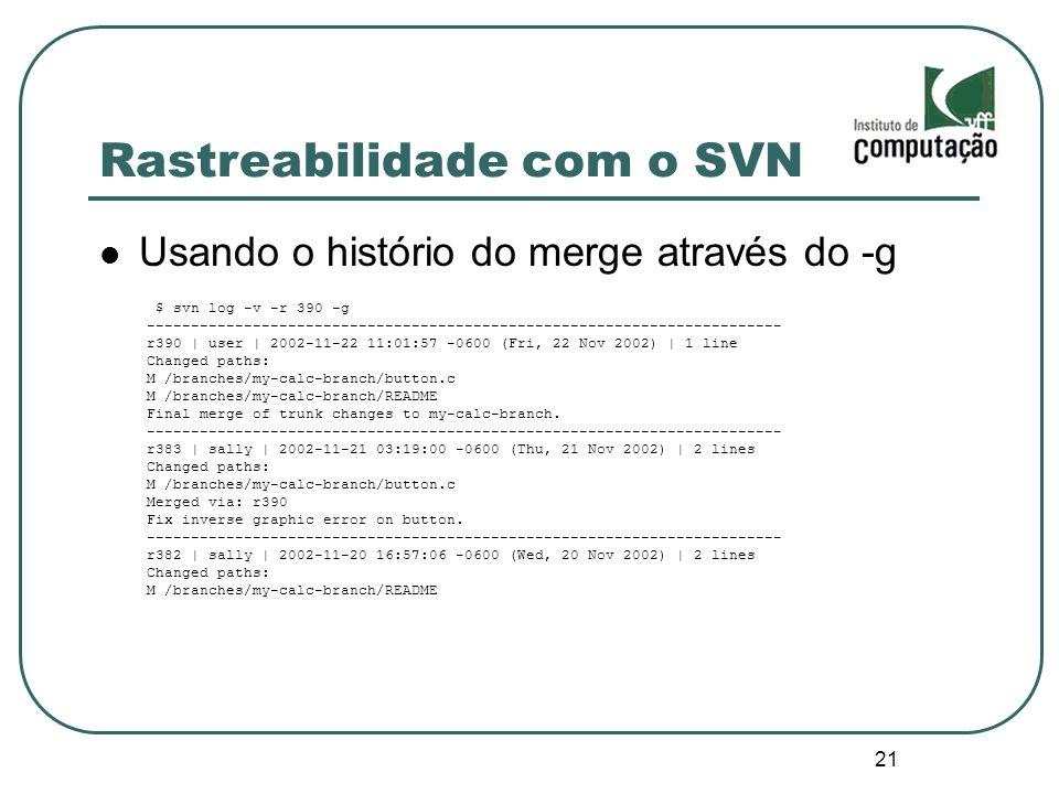 21 Rastreabilidade com o SVN Usando o histório do merge através do -g $ svn log -v -r 390 -g ---------------------------------------------------------