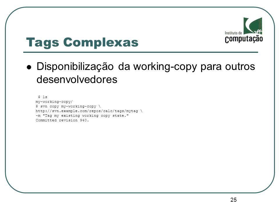 25 Tags Complexas Disponibilização da working-copy para outros desenvolvedores $ ls my-working-copy/ $ svn copy my-working-copy \ http://svn.example.c