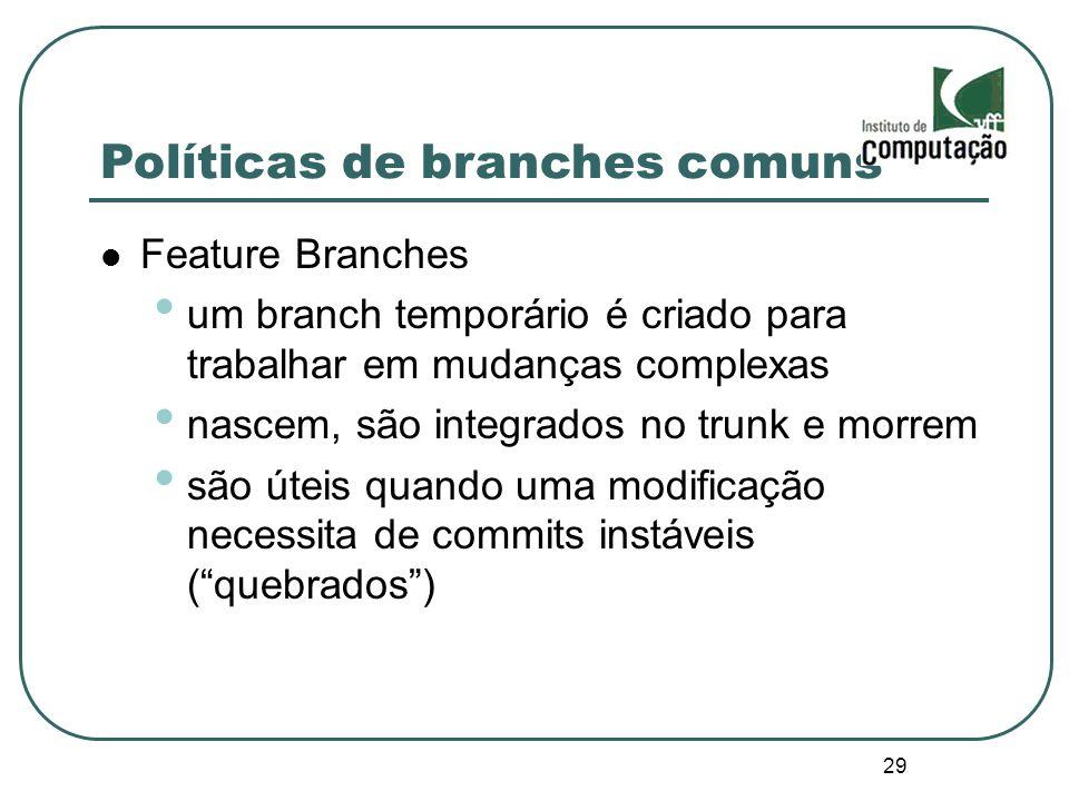 29 Políticas de branches comuns Feature Branches um branch temporário é criado para trabalhar em mudanças complexas nascem, são integrados no trunk e