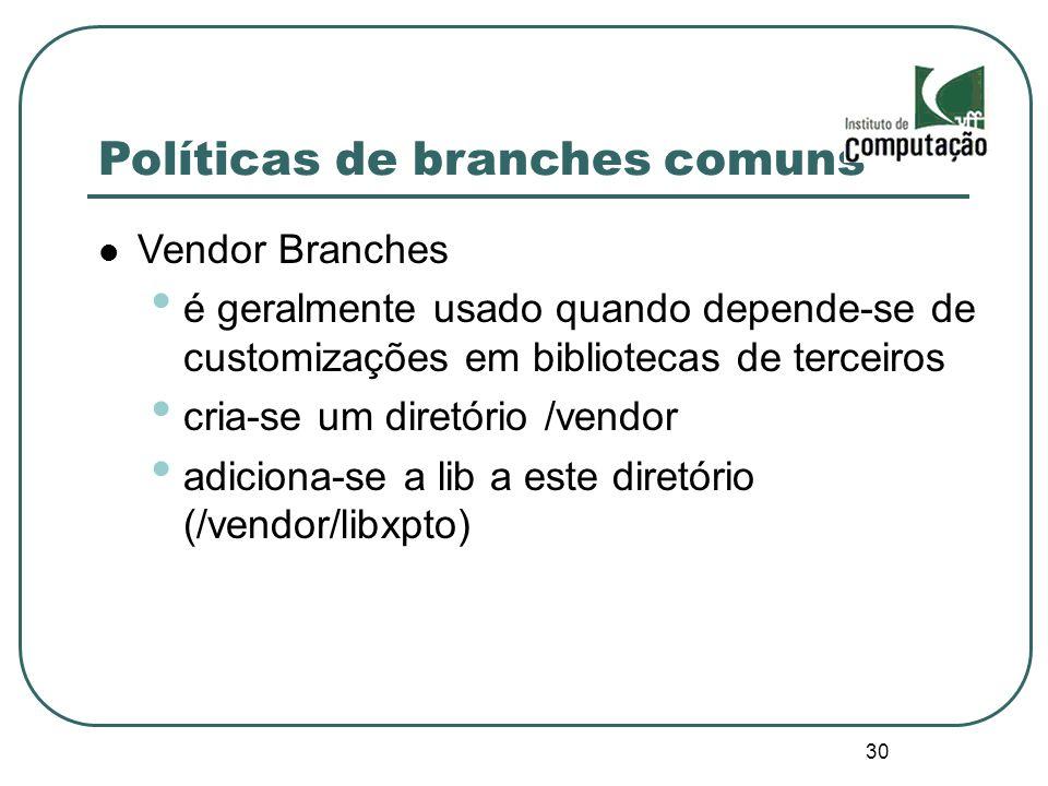 30 Políticas de branches comuns Vendor Branches é geralmente usado quando depende-se de customizações em bibliotecas de terceiros cria-se um diretório