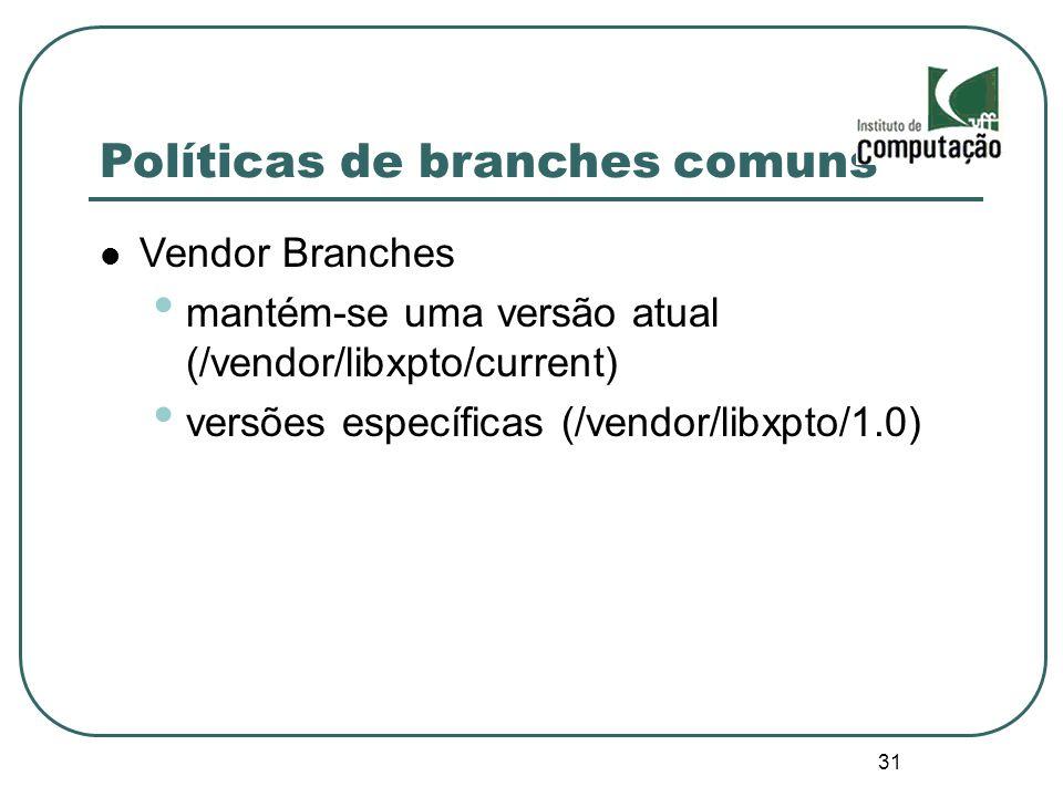31 Políticas de branches comuns Vendor Branches mantém-se uma versão atual (/vendor/libxpto/current) versões específicas (/vendor/libxpto/1.0)
