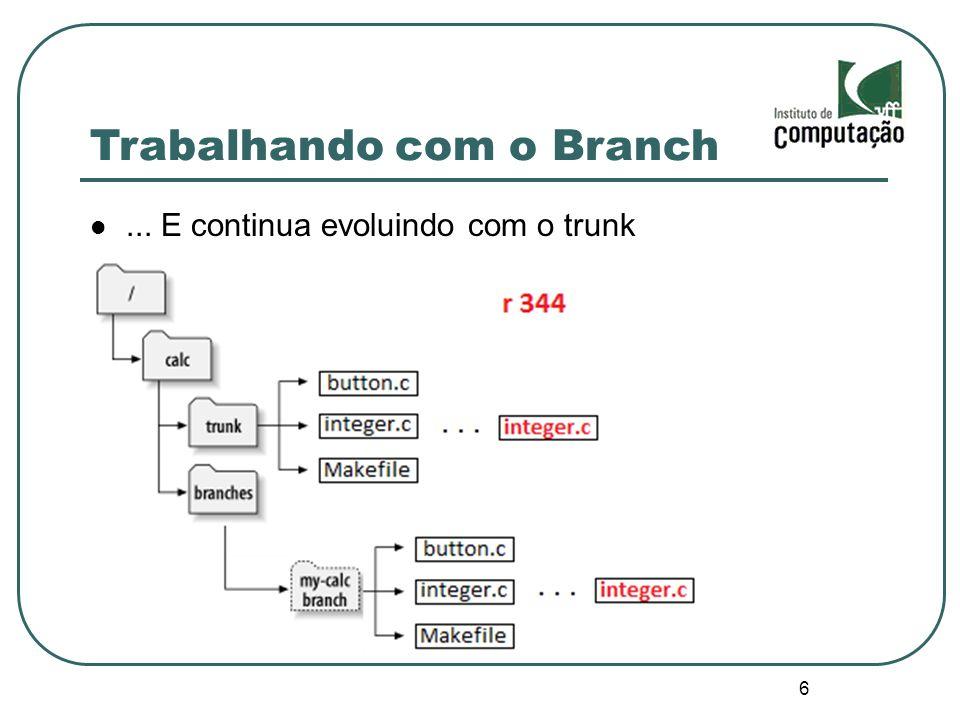 17 Cherrypicking Aplicar um changeset específico de um branch a outro identificar a diferença entre o changeset específico e o trunk svn diff -c 355 ^/trunk/ levar o conteúdo da revisão 355 pro trunk svn merge -c 355 ^/trunk/