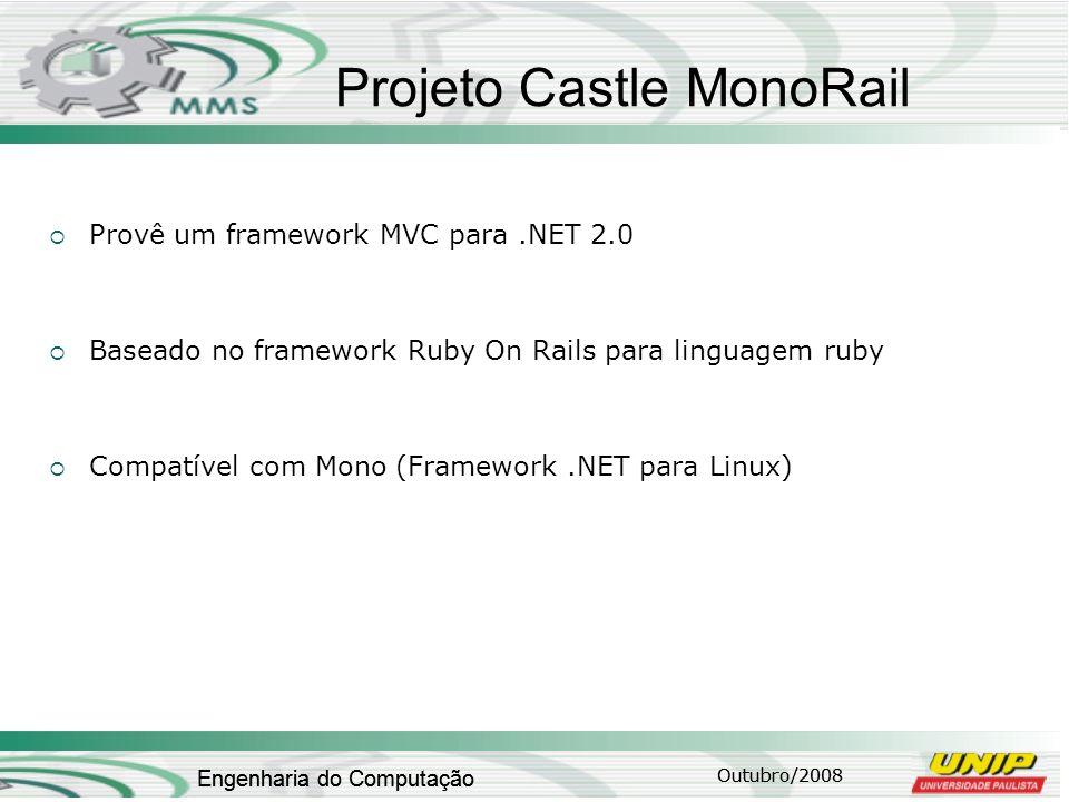 Outubro/2008 Engenharia do Computação Projeto Castle MonoRail Provê um framework MVC para.NET 2.0 Baseado no framework Ruby On Rails para linguagem ru