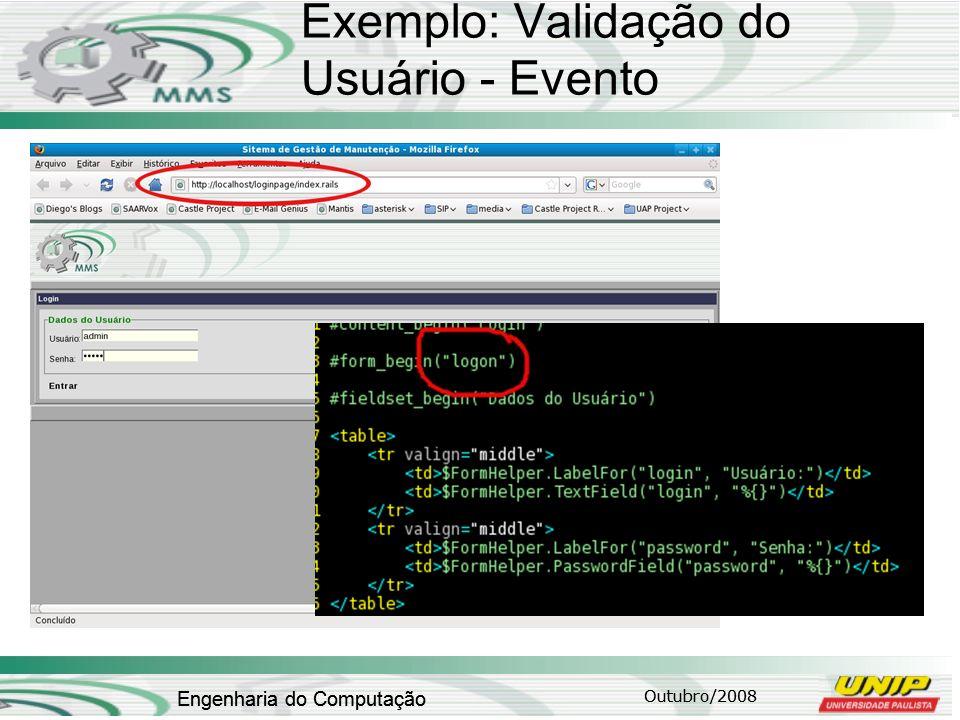 Outubro/2008 Engenharia do Computação Exemplo: Validação do Usuário - Evento Outubro/2008 Engenharia do Computação