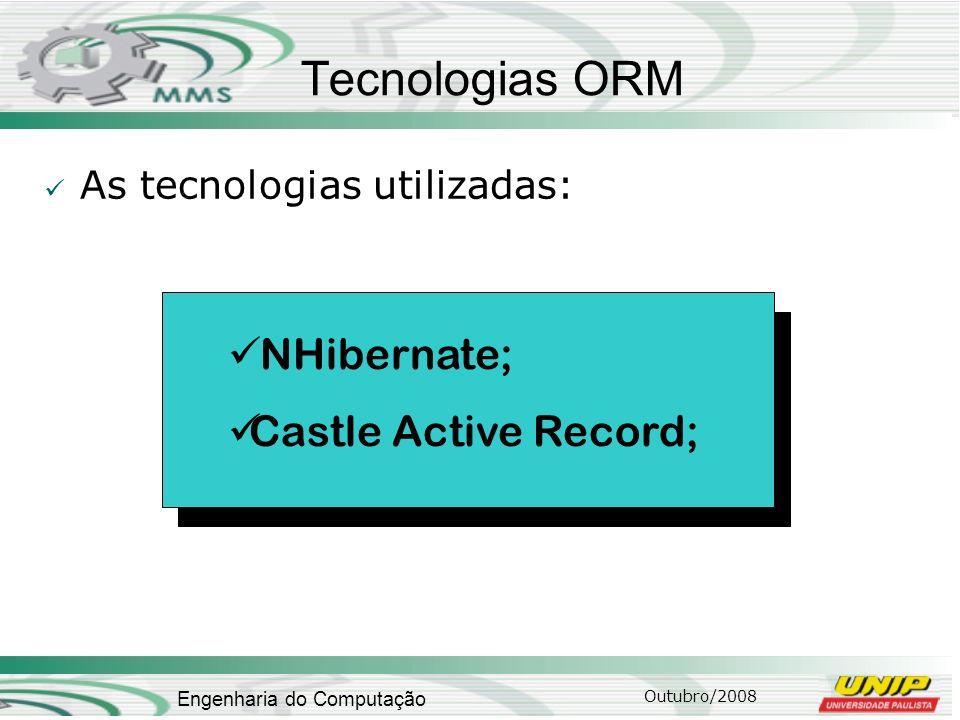 Outubro/2008 Engenharia do Computação Tecnologias ORM As tecnologias utilizadas: NHibernate; Castle Active Record;