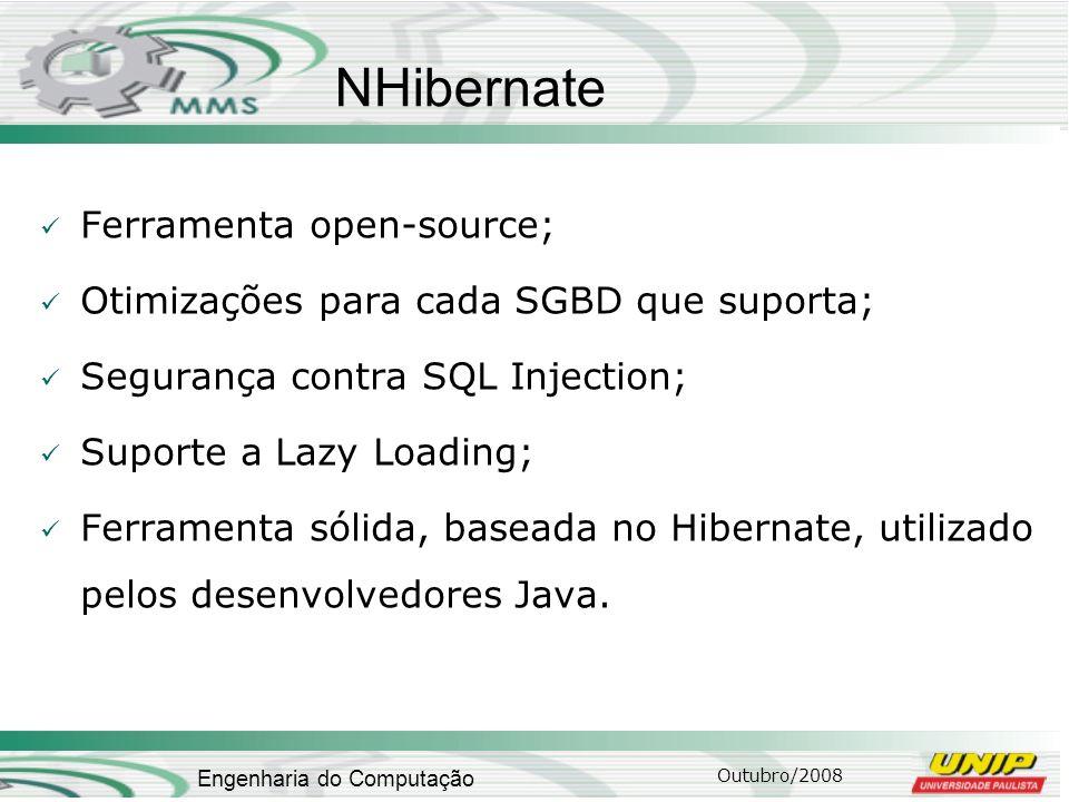 Outubro/2008 Engenharia do Computação NHibernate Ferramenta open-source; Otimizações para cada SGBD que suporta; Segurança contra SQL Injection; Supor