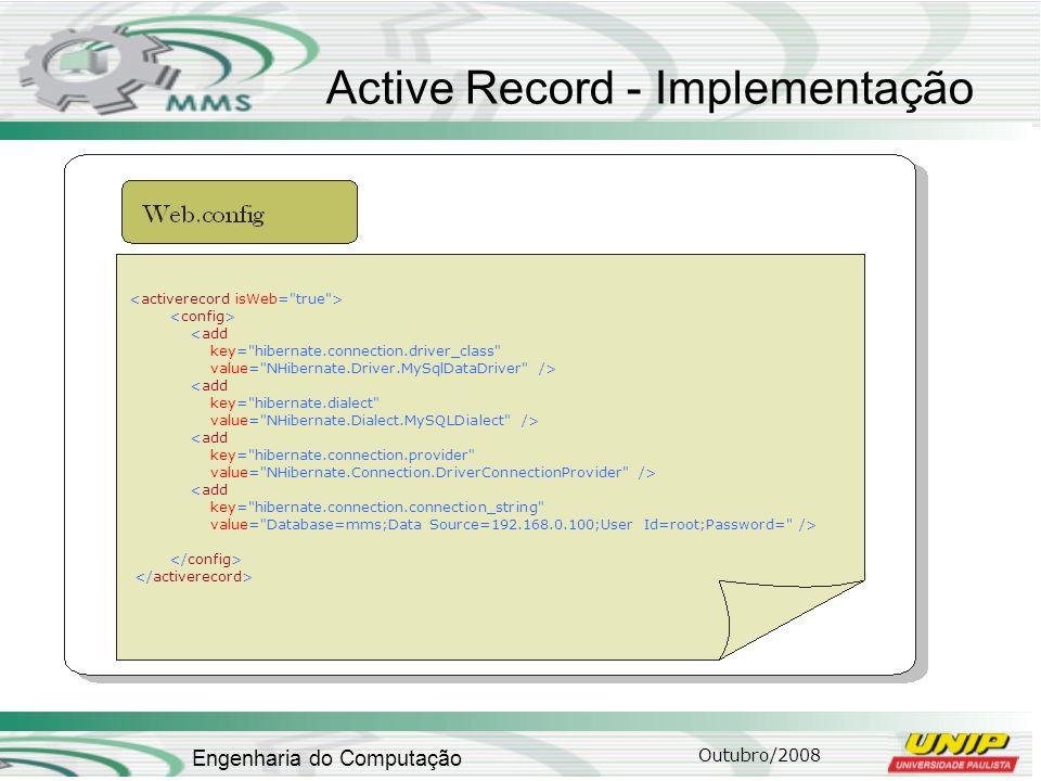 Outubro/2008 Engenharia do Computação Active Record - Implementação <add key=