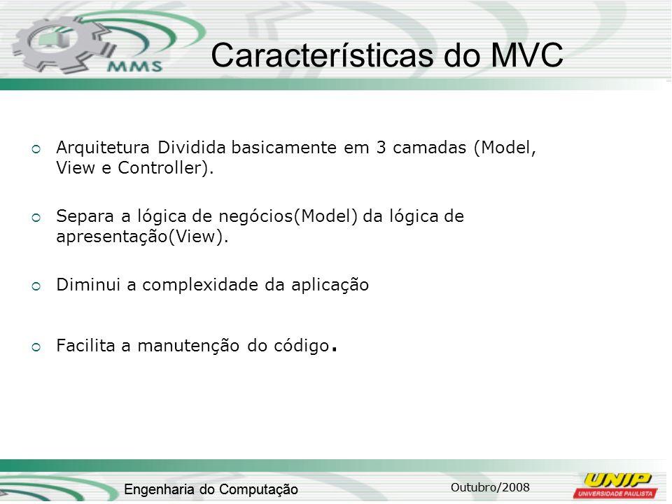 Outubro/2008 Engenharia do Computação Características do MVC Arquitetura Dividida basicamente em 3 camadas (Model, View e Controller). Separa a lógica