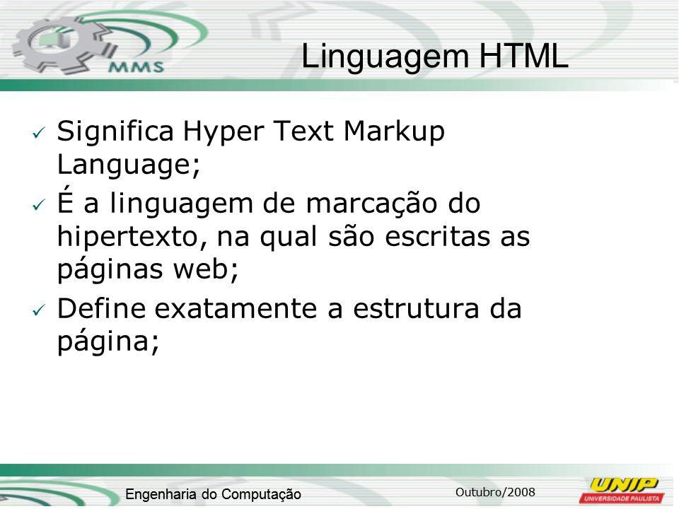 Outubro/2008 Engenharia do Computação Linguagem HTML Significa Hyper Text Markup Language; É a linguagem de marcação do hipertexto, na qual são escrit