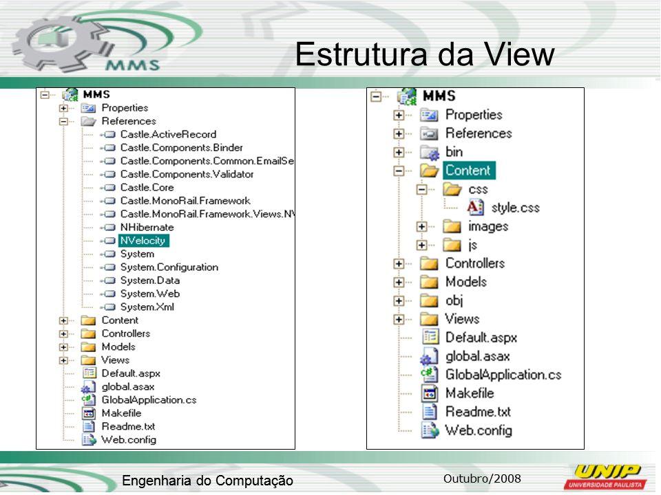 Outubro/2008 Engenharia do Computação Estrutura da View Outubro/2008 Engenharia do Computação