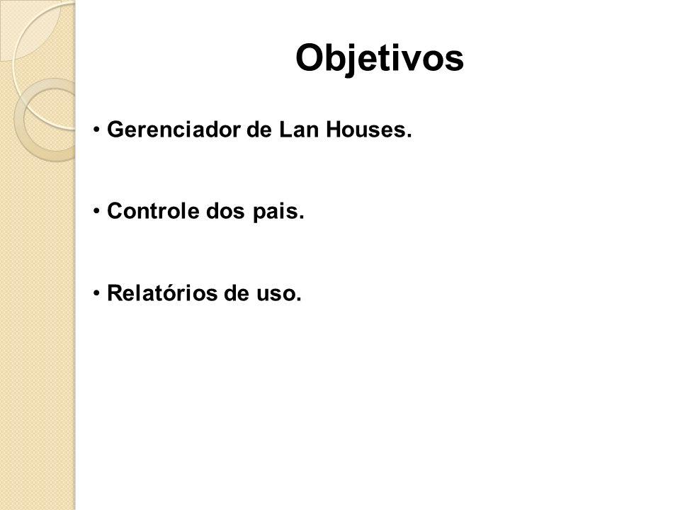 Gerenciador de Lan Houses. Controle dos pais. Relatórios de uso. Objetivos