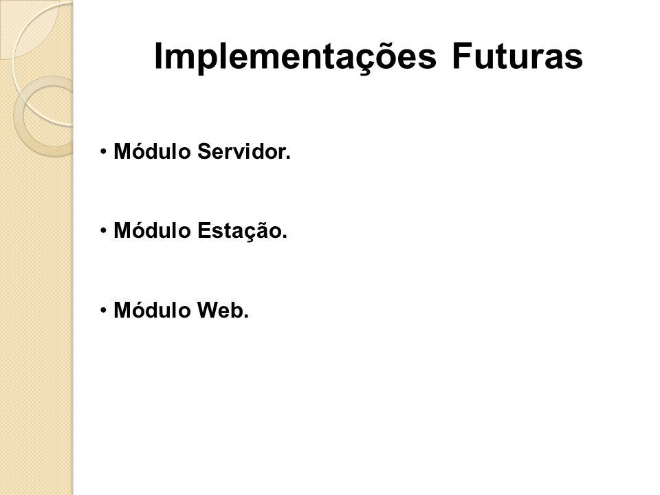 Módulo Servidor. Módulo Estação. Módulo Web. Implementações Futuras