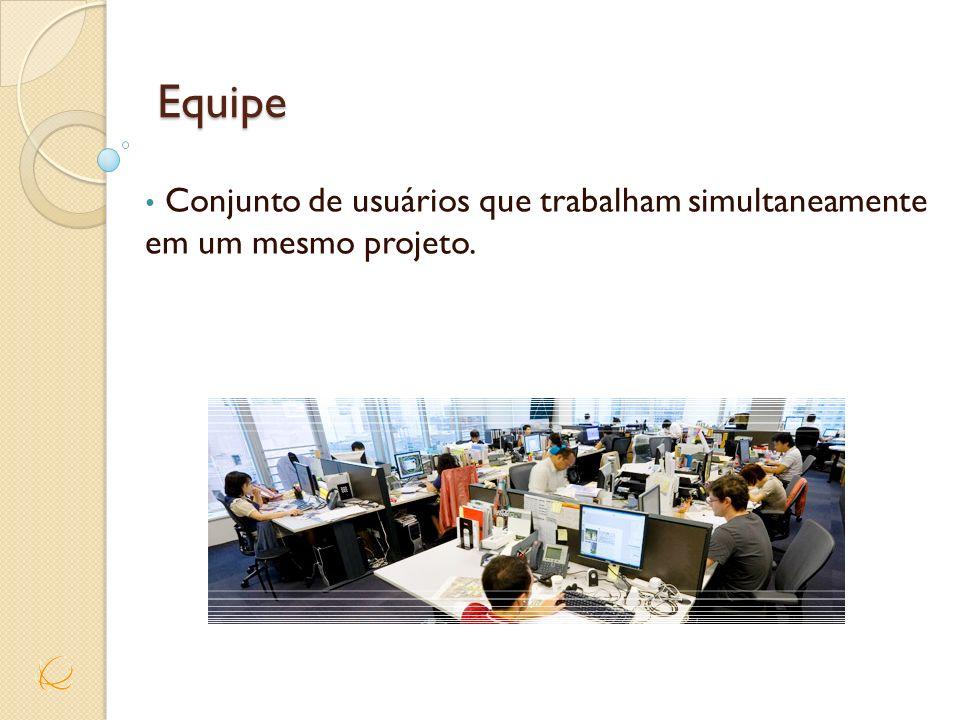 Equipe Conjunto de usuários que trabalham simultaneamente em um mesmo projeto.