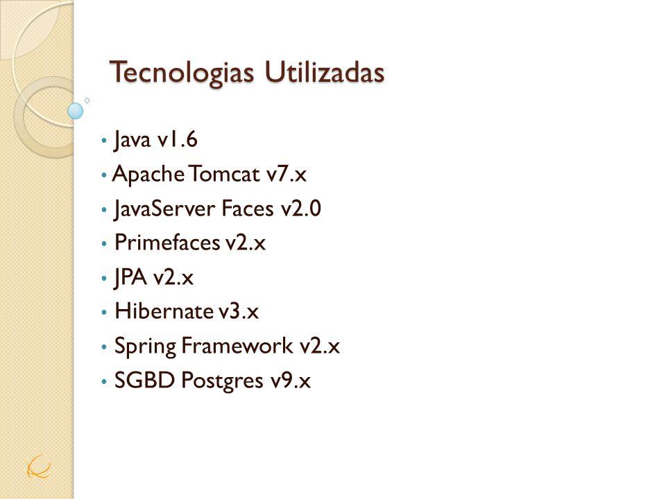 Tecnologias Utilizadas Java v1.6 Apache Tomcat v7.x JavaServer Faces v2.0 Primefaces v2.x JPA v2.x Hibernate v3.x Spring Framework v2.x SGBD Postgres