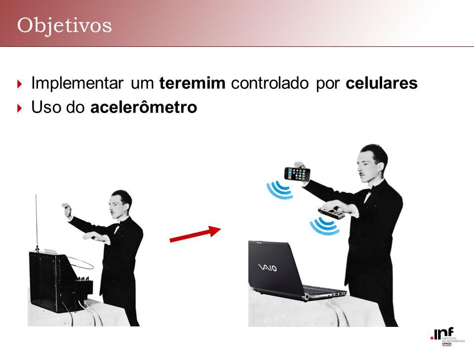 Objetivos Implementar um teremim controlado por celulares Uso do acelerômetro