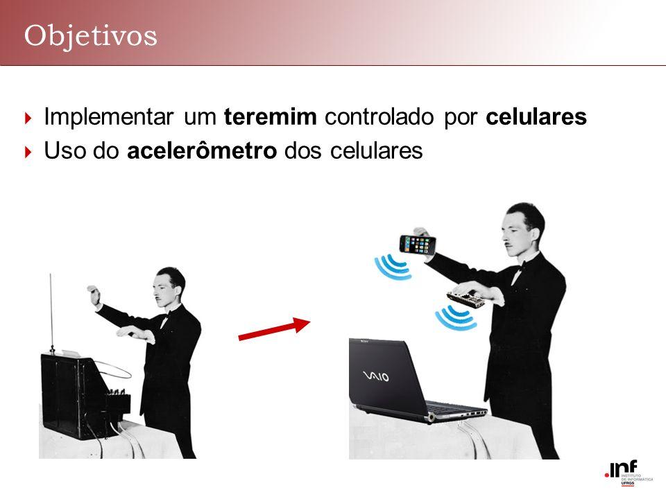 Objetivos Implementar um teremim controlado por celulares Uso do acelerômetro dos celulares
