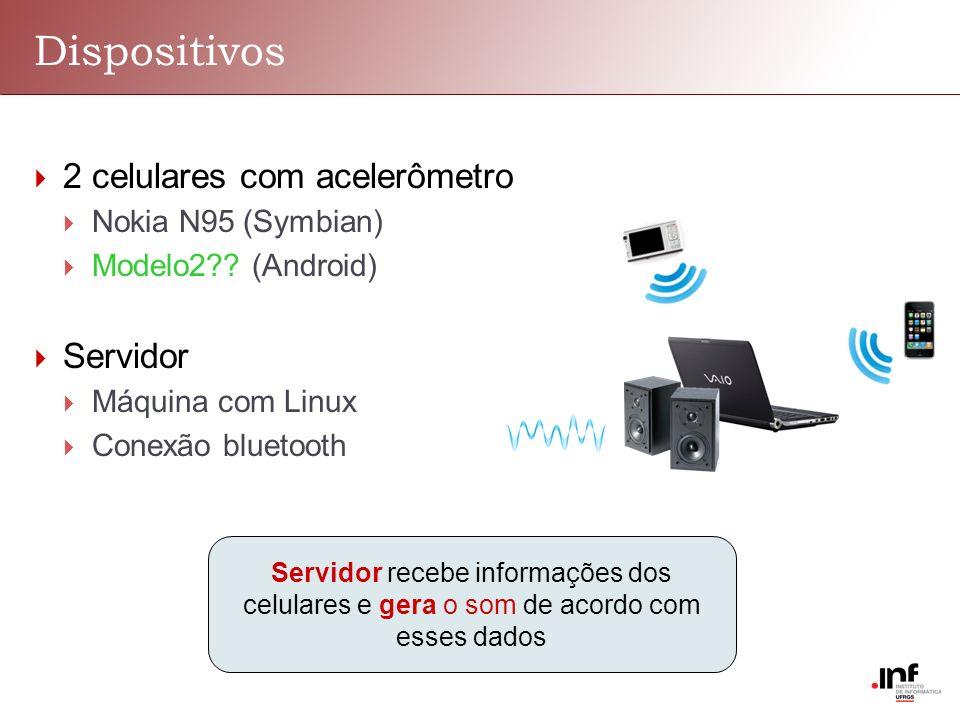 Dispositivos 2 celulares com acelerômetro Nokia N95 (Symbian) Modelo2?? (Android) Servidor Máquina com Linux Conexão bluetooth Servidor recebe informa
