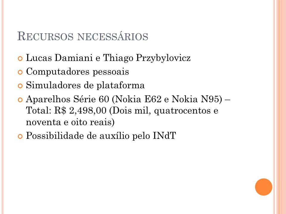 Lucas Damiani e Thiago Przybylovicz Computadores pessoais Simuladores de plataforma Aparelhos Série 60 (Nokia E62 e Nokia N95) – Total: R$ 2,498,00 (Dois mil, quatrocentos e noventa e oito reais) Possibilidade de auxílio pelo INdT