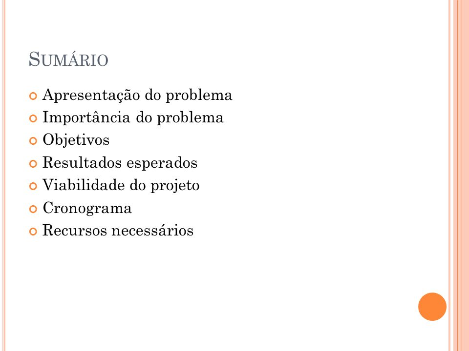 APRESENTAÇÃO DO PROBLEMA