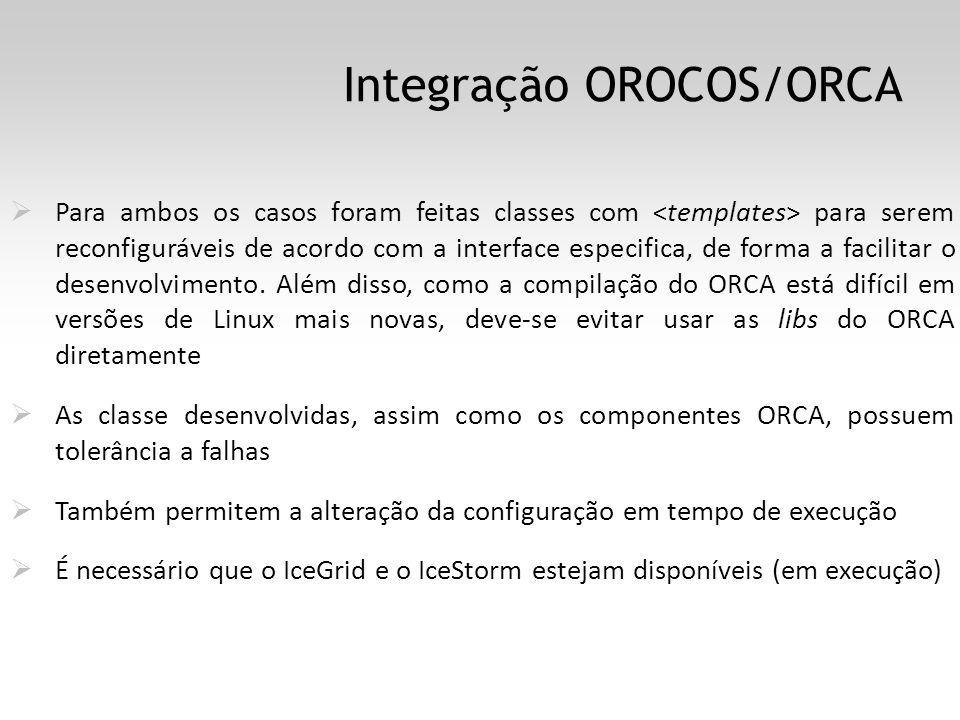 Integração OROCOS/ORCA Para ambos os casos foram feitas classes com para serem reconfiguráveis de acordo com a interface especifica, de forma a facilitar o desenvolvimento.