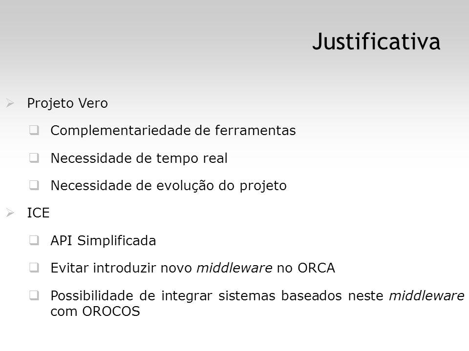 Justificativa Projeto Vero Complementariedade de ferramentas Necessidade de tempo real Necessidade de evolução do projeto ICE API Simplificada Evitar introduzir novo middleware no ORCA Possibilidade de integrar sistemas baseados neste middleware com OROCOS