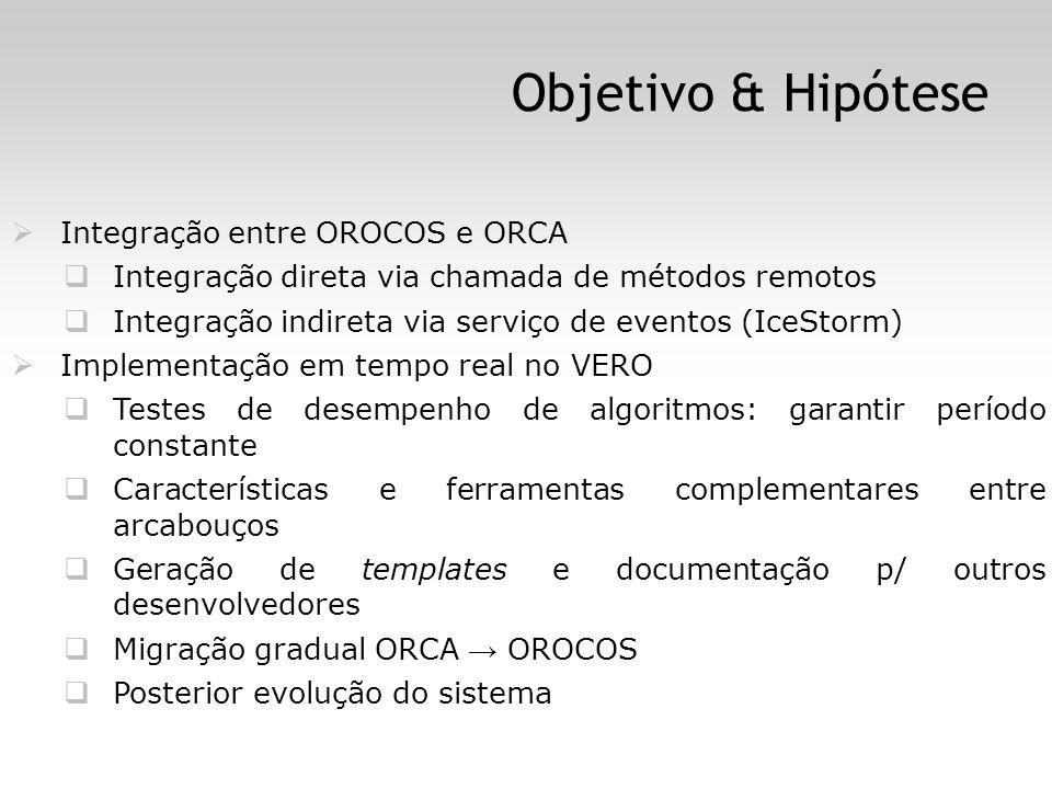 Objetivo & Hipótese Integração entre OROCOS e ORCA Integração direta via chamada de métodos remotos Integração indireta via serviço de eventos (IceStorm) Implementação em tempo real no VERO Testes de desempenho de algoritmos: garantir período constante Características e ferramentas complementares entre arcabouços Geração de templates e documentação p/ outros desenvolvedores Migração gradual ORCA OROCOS Posterior evolução do sistema