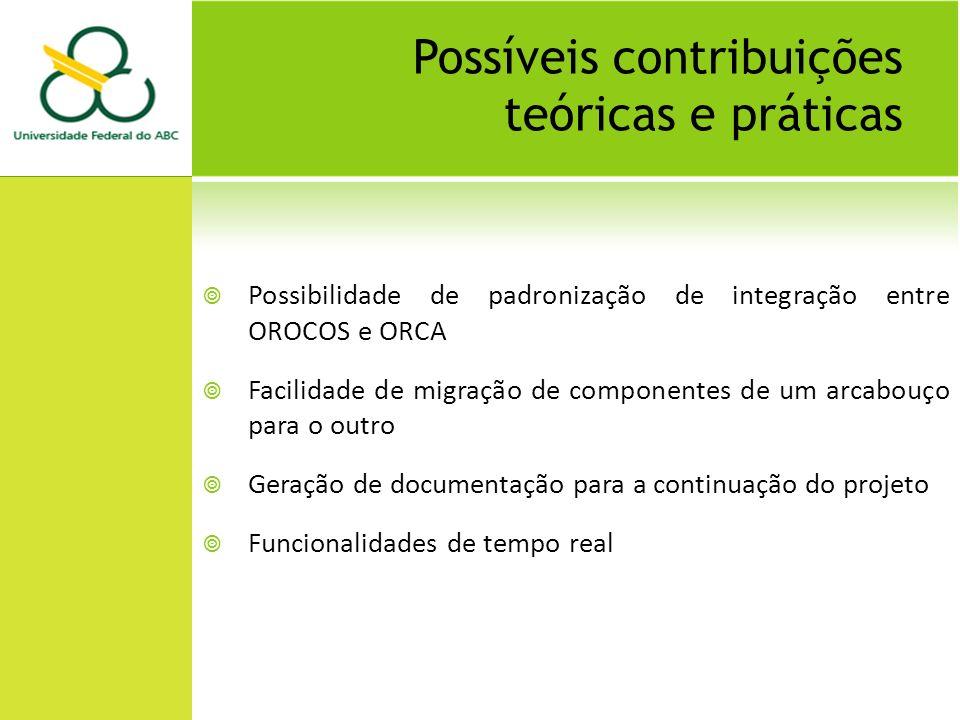 Possíveis contribuições teóricas e práticas Possibilidade de padronização de integração entre OROCOS e ORCA Facilidade de migração de componentes de um arcabouço para o outro Geração de documentação para a continuação do projeto Funcionalidades de tempo real