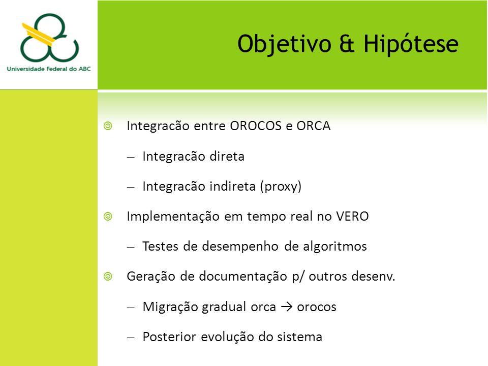 Objetivo & Hipótese Integracão entre OROCOS e ORCA – Integracão direta – Integracão indireta (proxy) Implementação em tempo real no VERO – Testes de desempenho de algoritmos Geração de documentação p/ outros desenv.