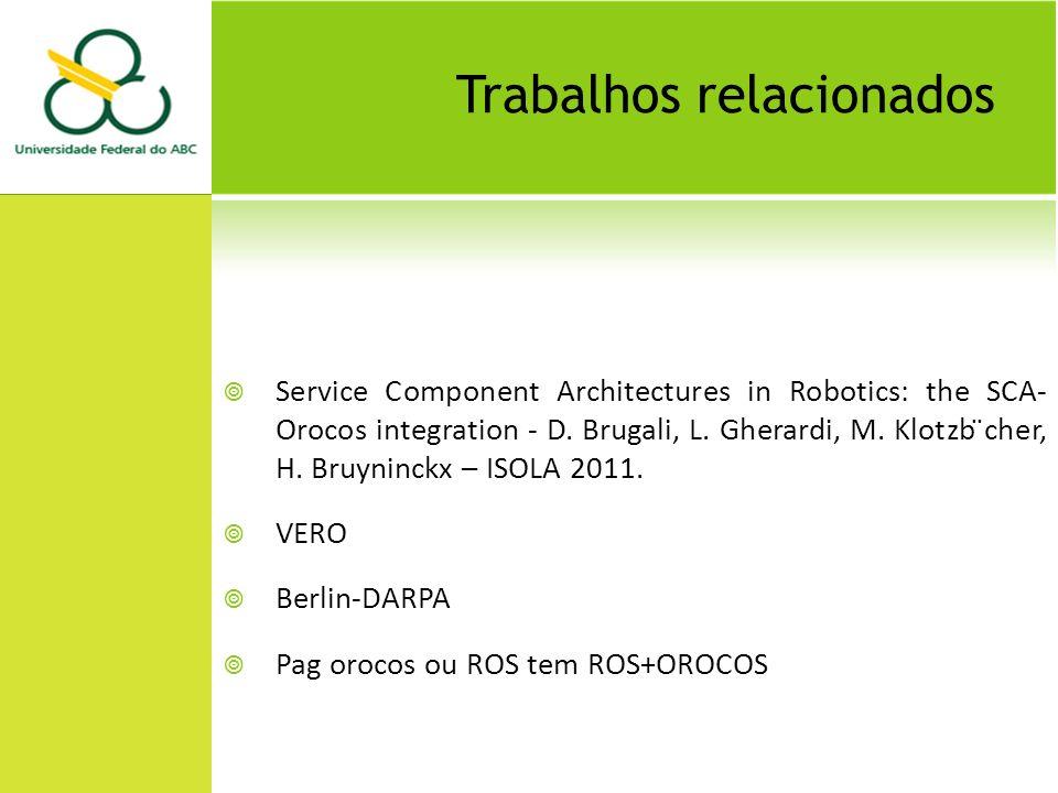 Trabalhos relacionados Service Component Architectures in Robotics: the SCA- Orocos integration - D. Brugali, L. Gherardi, M. Klotzb ̈cher, H. Bruynin