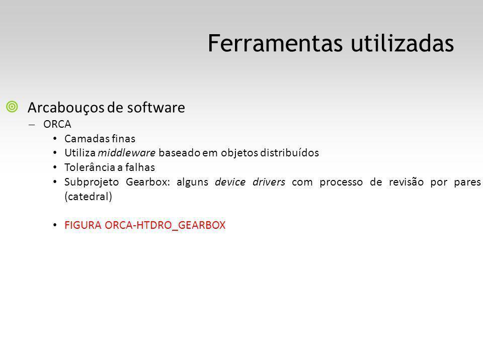Ferramentas utilizadas Arcabouços de software – ORCA Camadas finas Utiliza middleware baseado em objetos distribuídos Tolerância a falhas Subprojeto Gearbox: alguns device drivers com processo de revisão por pares (catedral) FIGURA ORCA-HTDRO_GEARBOX