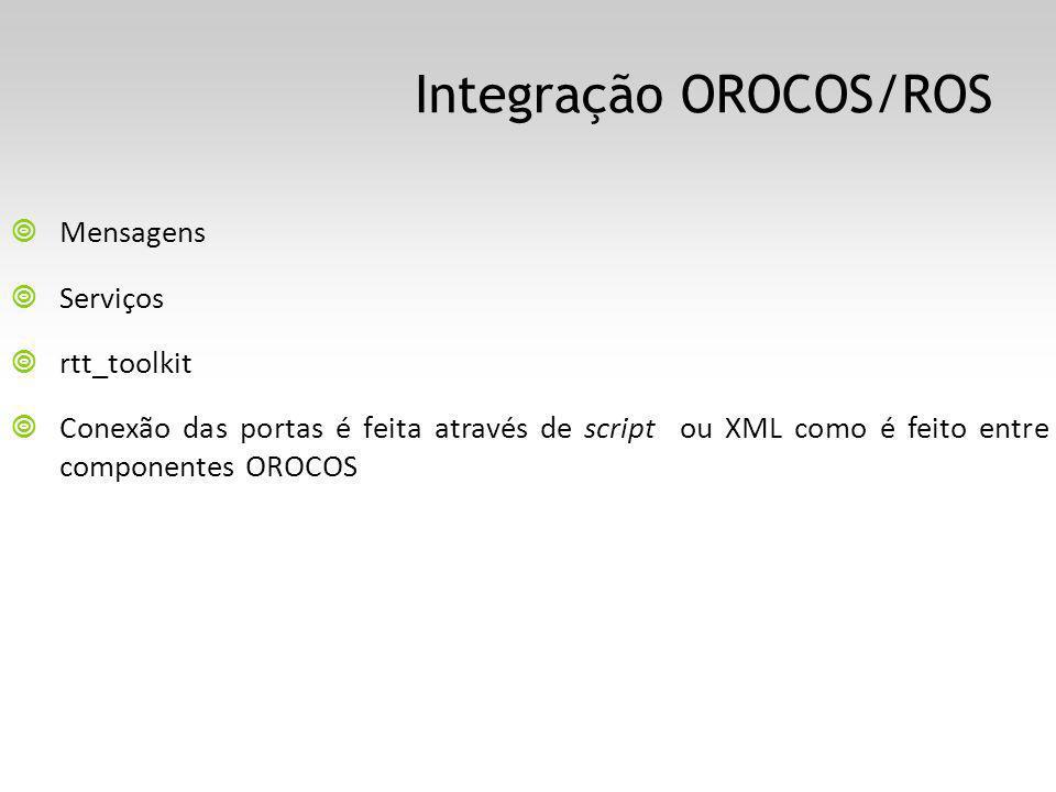 Integração OROCOS/ROS Mensagens Serviços rtt_toolkit Conexão das portas é feita através de script ou XML como é feito entre componentes OROCOS