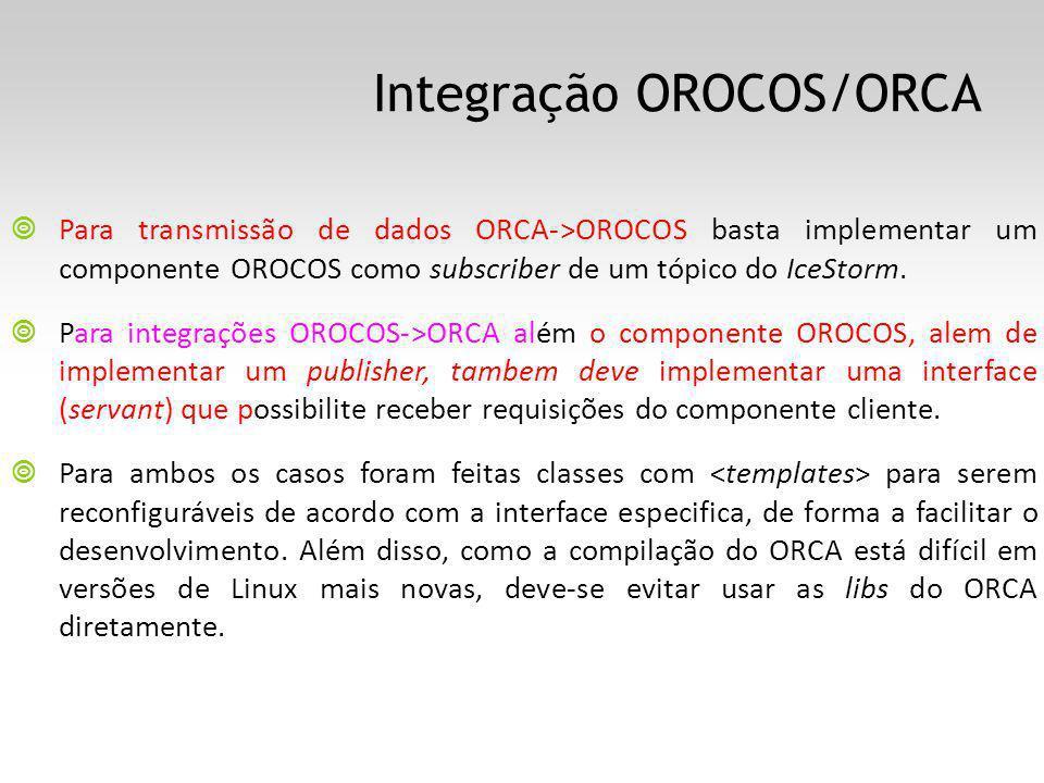 Integração OROCOS/ORCA Para transmissão de dados ORCA->OROCOS basta implementar um componente OROCOS como subscriber de um tópico do IceStorm. Para in