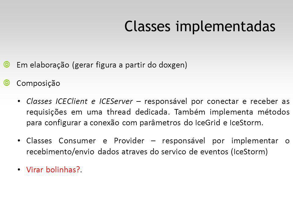 Classes implementadas Em elaboração (gerar figura a partir do doxgen) Composição Classes ICEClient e ICEServer – responsável por conectar e receber as requisições em uma thread dedicada.