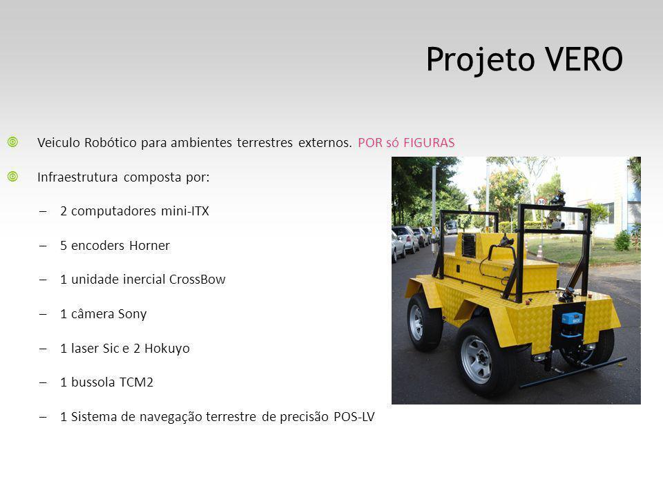 Projeto VERO Veiculo Robótico para ambientes terrestres externos. POR só FIGURAS Infraestrutura composta por: – 2 computadores mini-ITX – 5 encoders H
