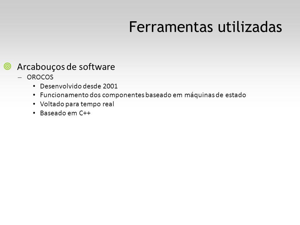 Ferramentas utilizadas Arcabouços de software – OROCOS Desenvolvido desde 2001 Funcionamento dos componentes baseado em máquinas de estado Voltado para tempo real Baseado em C++