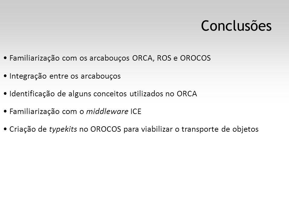Conclusões Familiarização com os arcabouços ORCA, ROS e OROCOS Integração entre os arcabouços Identificação de alguns conceitos utilizados no ORCA Familiarização com o middleware ICE Criação de typekits no OROCOS para viabilizar o transporte de objetos
