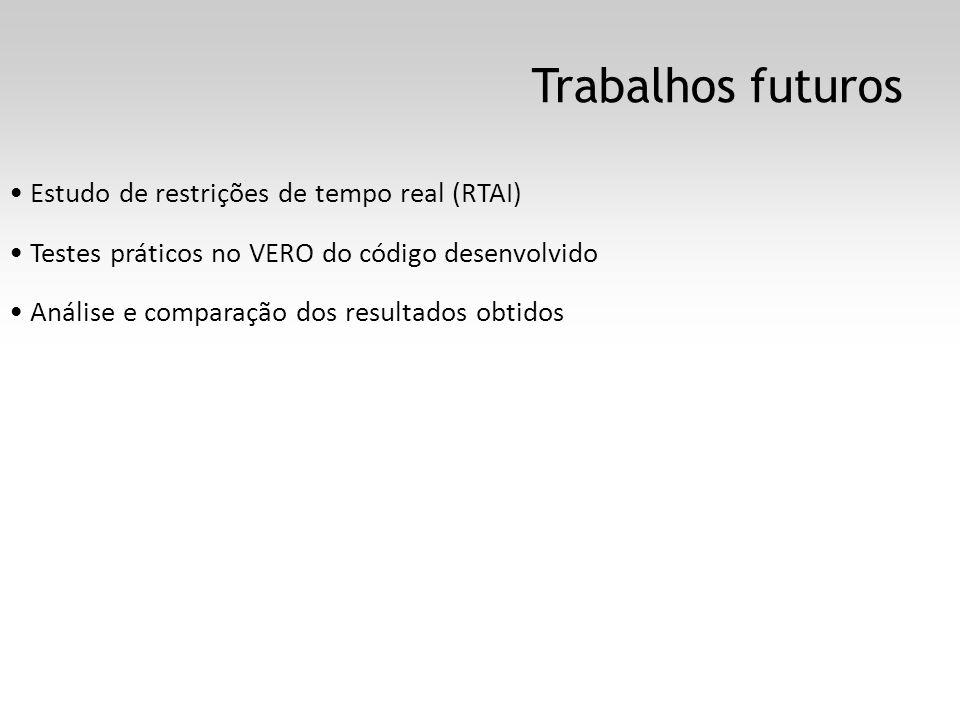 Trabalhos futuros Estudo de restrições de tempo real (RTAI) Testes práticos no VERO do código desenvolvido Análise e comparação dos resultados obtidos