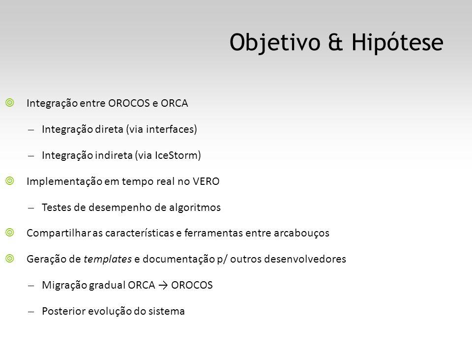 Objetivo & Hipótese Integração entre OROCOS e ORCA – Integração direta (via interfaces) – Integração indireta (via IceStorm) Implementação em tempo real no VERO – Testes de desempenho de algoritmos Compartilhar as características e ferramentas entre arcabouços Geração de templates e documentação p/ outros desenvolvedores – Migração gradual ORCA OROCOS – Posterior evolução do sistema