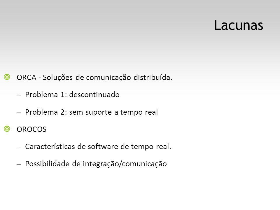 Lacunas ORCA - Soluções de comunicação distribuída. – Problema 1: descontinuado – Problema 2: sem suporte a tempo real OROCOS – Características de sof