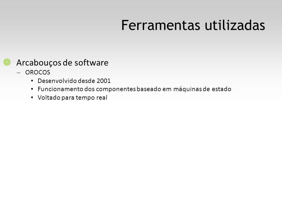 Ferramentas utilizadas Arcabouços de software – OROCOS Desenvolvido desde 2001 Funcionamento dos componentes baseado em máquinas de estado Voltado par