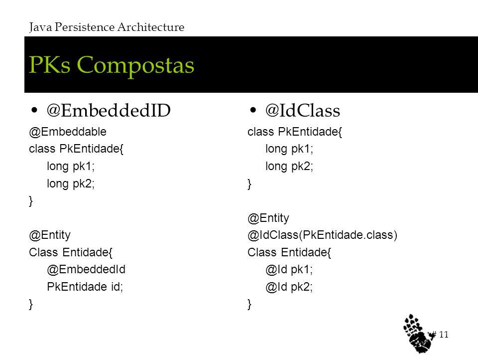 PKs Compostas @EmbeddedID @Embeddable class PkEntidade{ long pk1; long pk2; } @Entity Class Entidade{ @EmbeddedId PkEntidade id; } @IdClass class PkEntidade{ long pk1; long pk2; } @Entity @IdClass(PkEntidade.class) Class Entidade{ @Id pk1; @Id pk2; } Java Persistence Architecture # 11