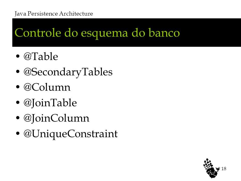 Controle do esquema do banco @Table @SecondaryTables @Column @JoinTable @JoinColumn @UniqueConstraint Java Persistence Architecture # 18